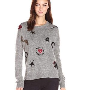 French Connection Lucky Embroidered Knit Sweater